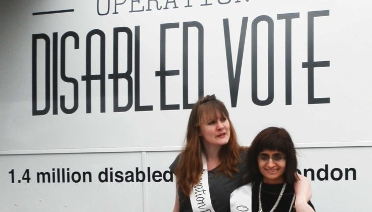 Ellen and Sabina in front of the Operation Disabled Vote bus