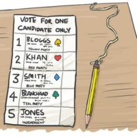 Ballot paper with a pencil and five candidate names