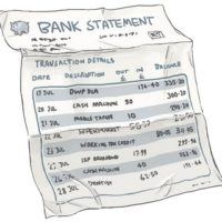 Creased bank statement with several items