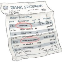 Bank statement with benefit payments circled in red