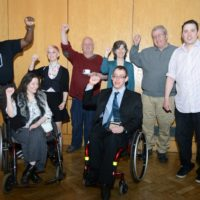 Group of Disabled campaigners at an Election hustings