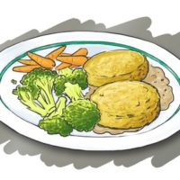 Plate with brocolli, carrots, veggie burgers and potatoes, on a grey background