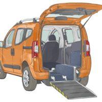 Orange Motability Vehicle with back door open