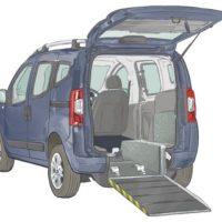Blue Motability Vehicle with back door open