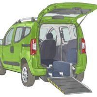 Green Motability Vehicle with back door open