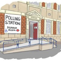 Polling station with ramp up to entrance