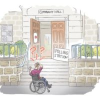 Inaccessible Polling station with wheelchair user in front of steps and red question marks drawn above their head