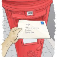 Hand posting a letter addressed to MP, House of Commons, London, into a red postbox