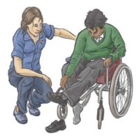 A support worker kneels next to a wheelchair user putting on shoes