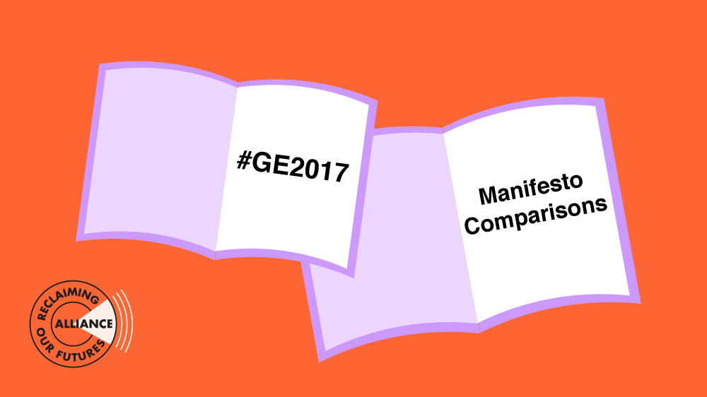 Illustration with two open books, with #GE2017 on one and 'Manifesto Comparisons' on the other