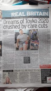Newspaper headline reading Dreams of Tokyo 2020 crushed by care cuts