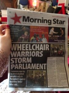 Photograph of Morning Star front page headline: Wheelchair Warriors Storm Parliament