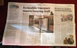 Newspaper headline reading Accessible transport means keeping staff