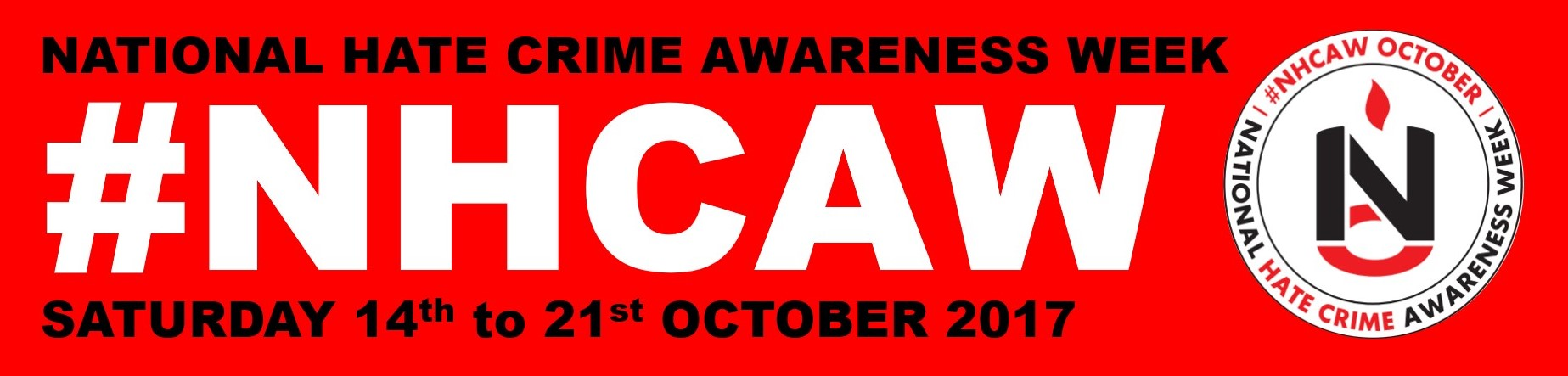 National Hate Crime Awareness Week graphic, reading #NHCAW, Saturday 14th to 21st October 2017