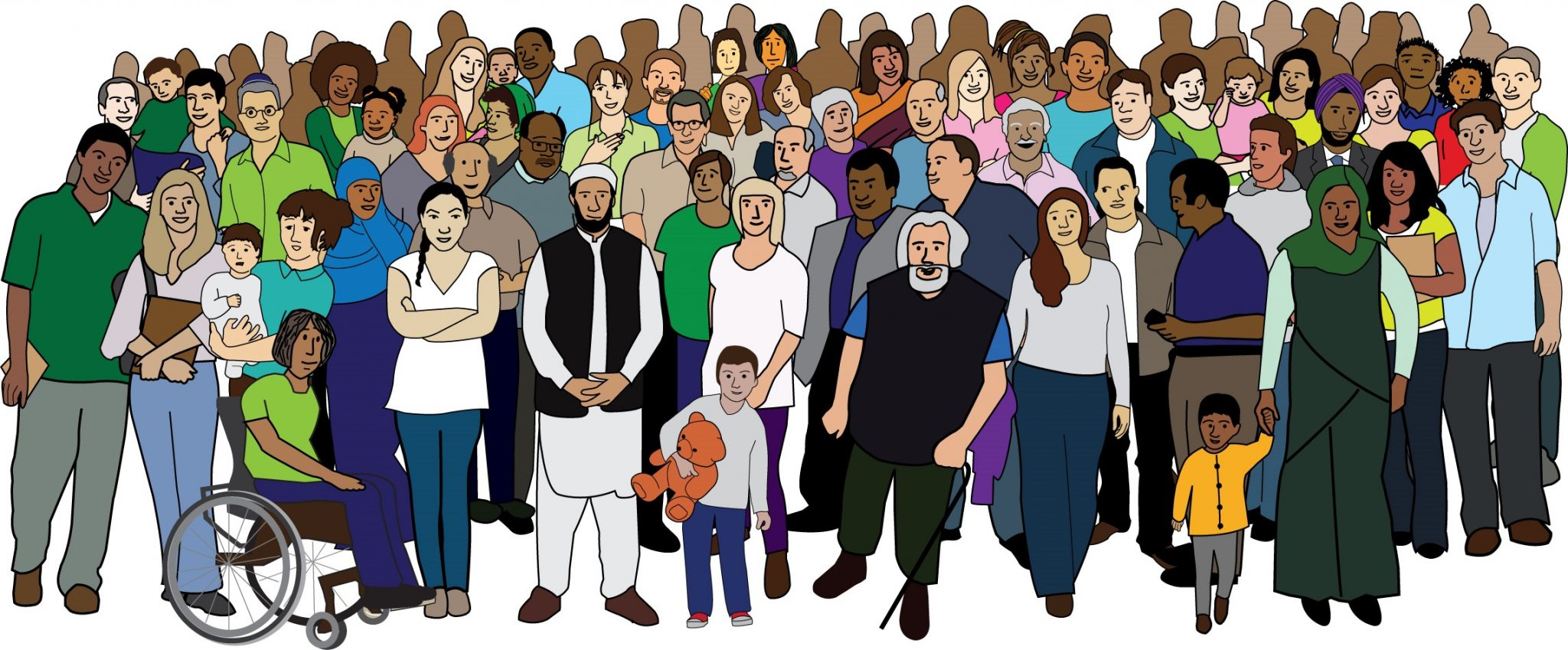 Illustration of a large group of people, many of whom are visibly Disabled.
