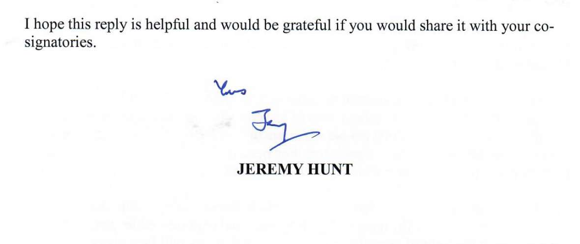 Picture of the end of a letter from Jeremy Hunt with his signature