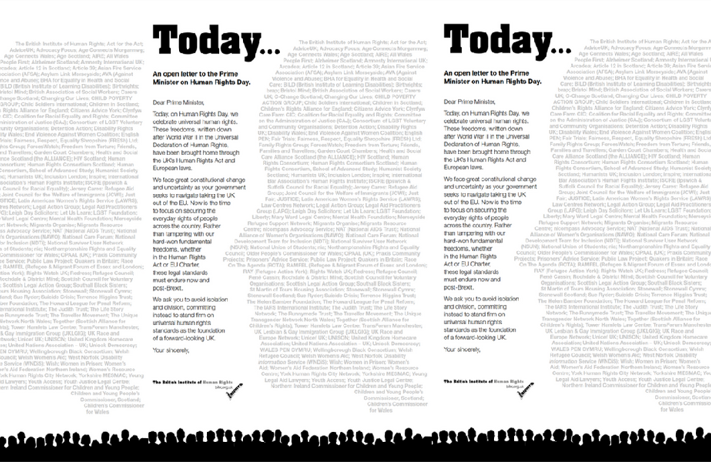 Image of the Human Rights day letter. The signatories' names are displayed in the shape of the profile of a face.