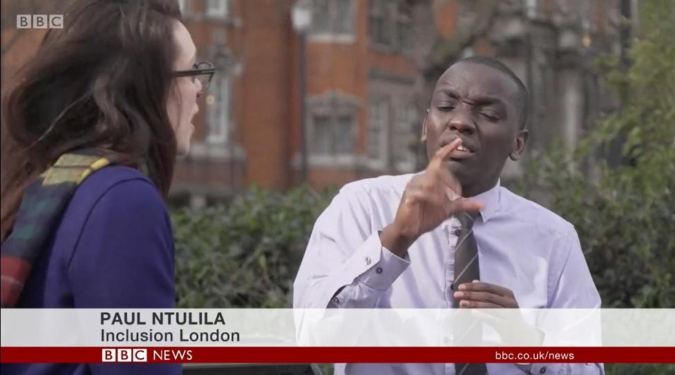 Paul Ntulilia being interviewed on BBC News