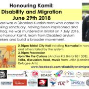 Join ROFA at Bristol event honouring murdered disabled asylum seeker Kamil Ahmad