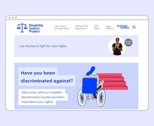 Image of the Disability Justice Project website homepage