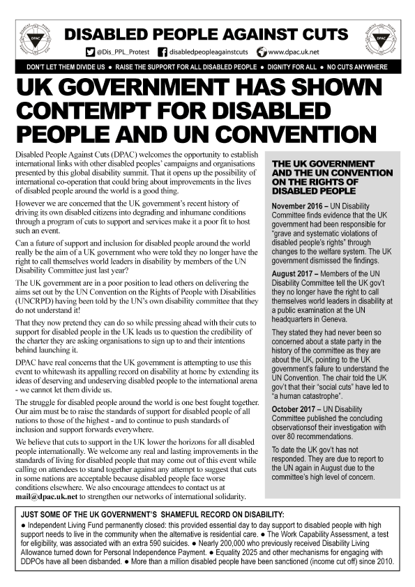 Flyer by Disabled People Against Cuts with the headline 'UK Government has shown contempt for Disabled people and UN Convention""