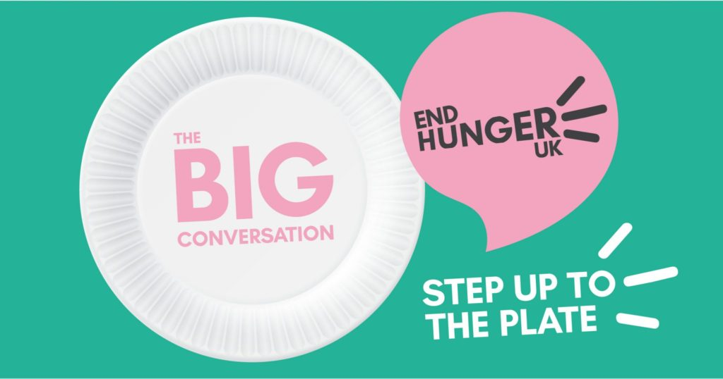 Image of a plate with the words 'The BIG Conversation' written over the top, with the End Hunger UK logo and 'Step up to the Plate' at the bottom