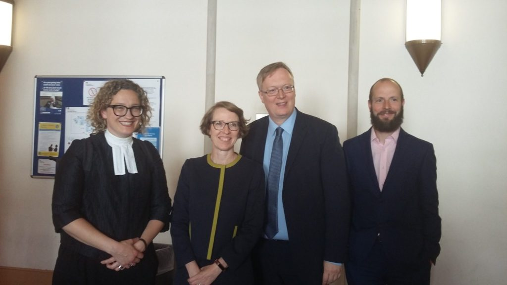 Photo of the legal team in the Access to Work case: Barrister Sarah Hannett, solicitor Louise Whitfield, David Buxton and Matthew Smith from the EHRC