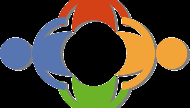 Circle of rainbow figures