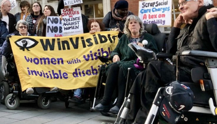 Disability campaigners outside Woolwich Town Hall protesting about social care charges