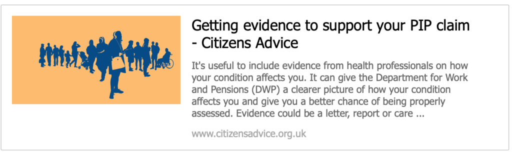 Citiizens Advice PIP claims support
